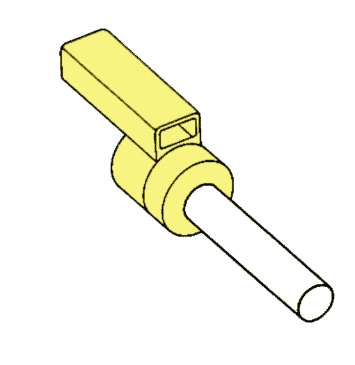 Yellow spark crimp-on pin 9mm for cable marking and wire marking